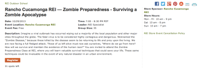 REI training - how to survive the zombie apocalypse